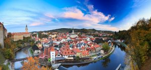 Panoramic cityscape Cesky Krumlov, Czech republic. Autumn evenin